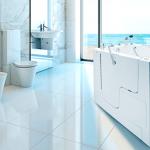 Walk in tub in modern bathroom